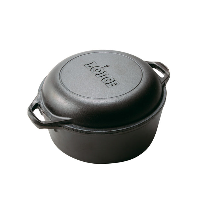 Lodge 5 Quart Cast Iron Double Dutch Oven, With Loop Handles