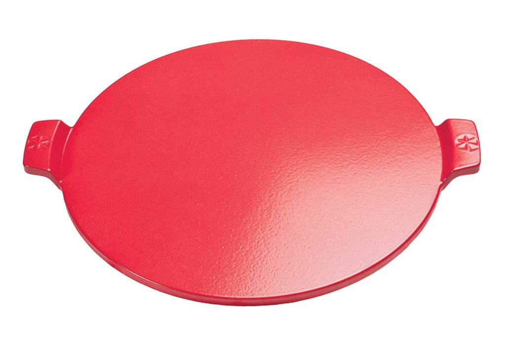 "14.5"" ThermaBond™ Round Glazed Pizza Stone with Handles – Red"