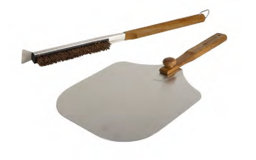 Pizza Oven Accessories with Acacia Wood Handles – Brush and Peel
