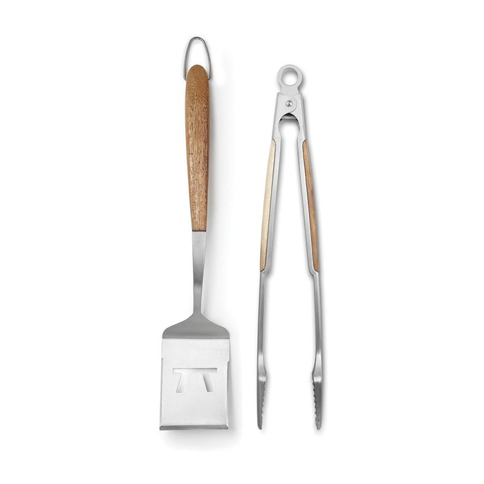 Outset Jackson Acacia Wood Grill Spatula & Locking Tongs Set
