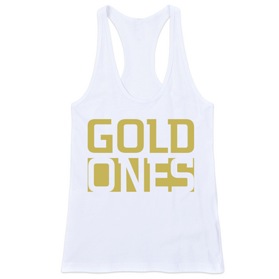 GOLD ONES FITTED RACERBACK TANK (White)