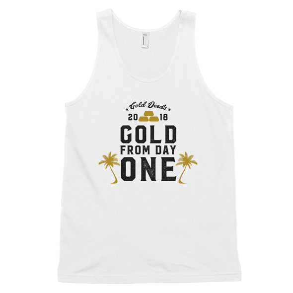 GOLD FROM DAY ONE PALMS TANK TOP (WHITE)