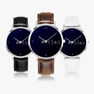 Intelligence With Style Ultra-Thin Leather Strap Quartz Watch (Silver)