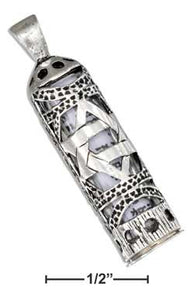 Sterling Silver Star Of David Mezuzah Pendant with Scroll
