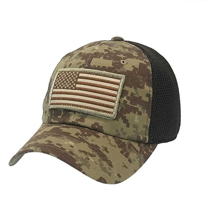 Camo Traditional American Flag Patch Hat