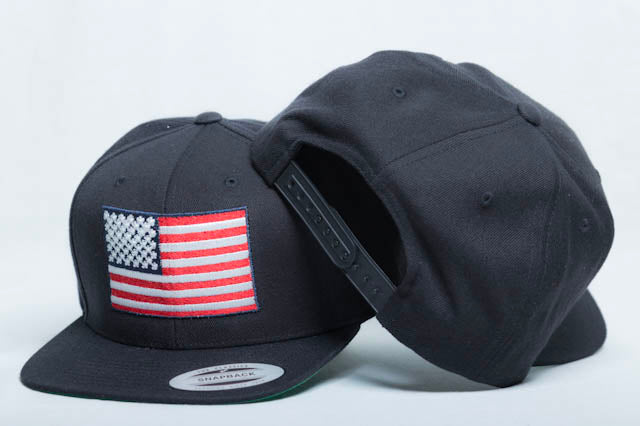 American Flag Flat Bill High-Profile Snapback Hat