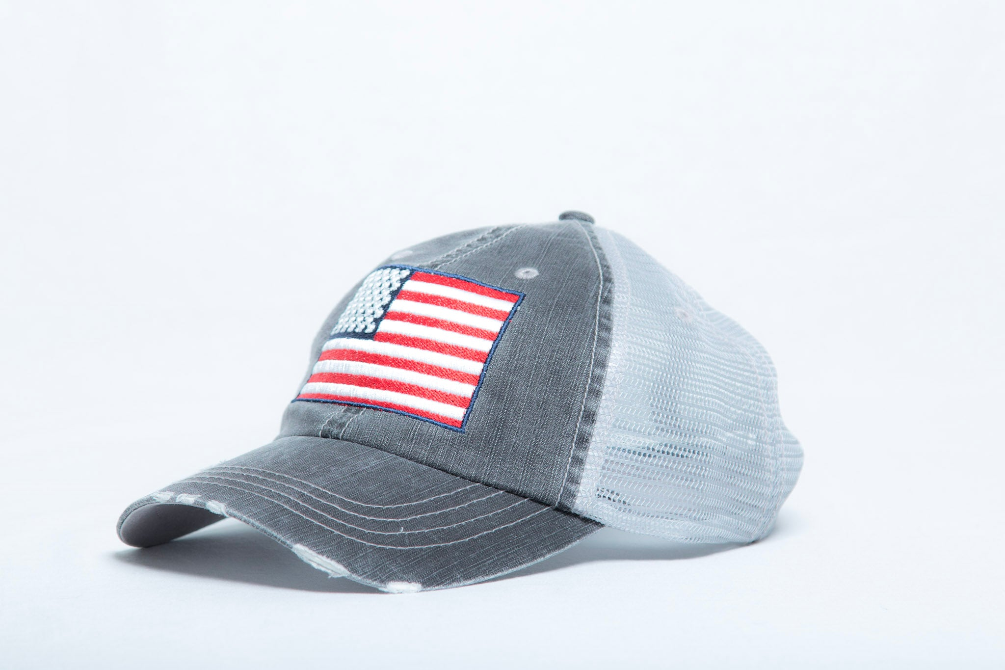 American Flag Unstructured Trucker Hat