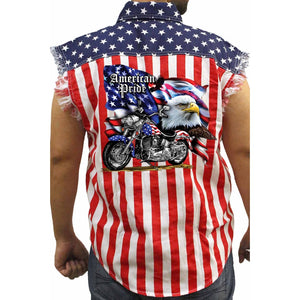 Men's USA Flag Sleeveless Denim Shirt American Pride Motorcycle Biker