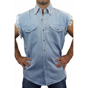Men's Sleeveless Denim Biker Shirt USA Flag Skull Live Free or Die Biker