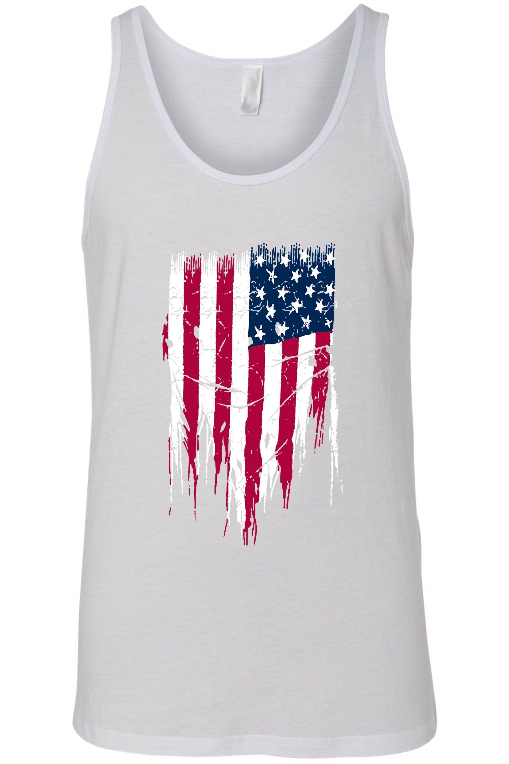 Men's/Unisex Ripped USA Flag Tank Top Shirt
