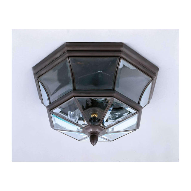 "Yahi 15"" Wide Outdoor Ceiling Fixture with Clear Beveled Glass"