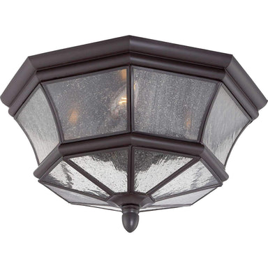 "Yahi 15"" Wide Outdoor Ceiling Fixture with Seedy Glass"