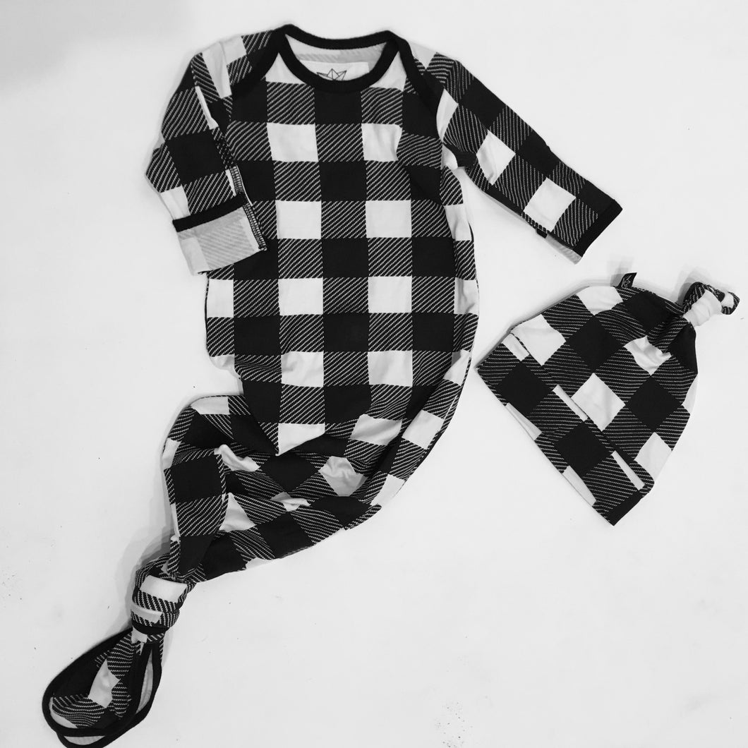 Buffalo Check Newborn Gown + Hat