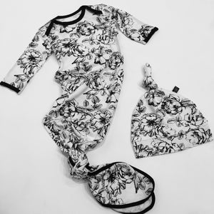 Floral Bamboo Newborn Gown + Hat Set