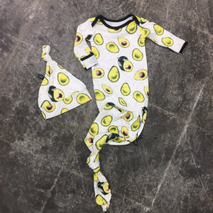 Avocados Bamboo Newborn Gown + Hat Set
