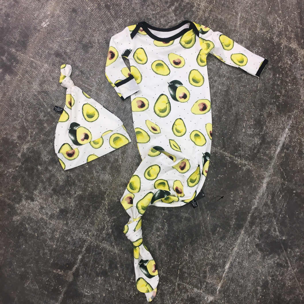 Avocados Newborn Gown + Hat