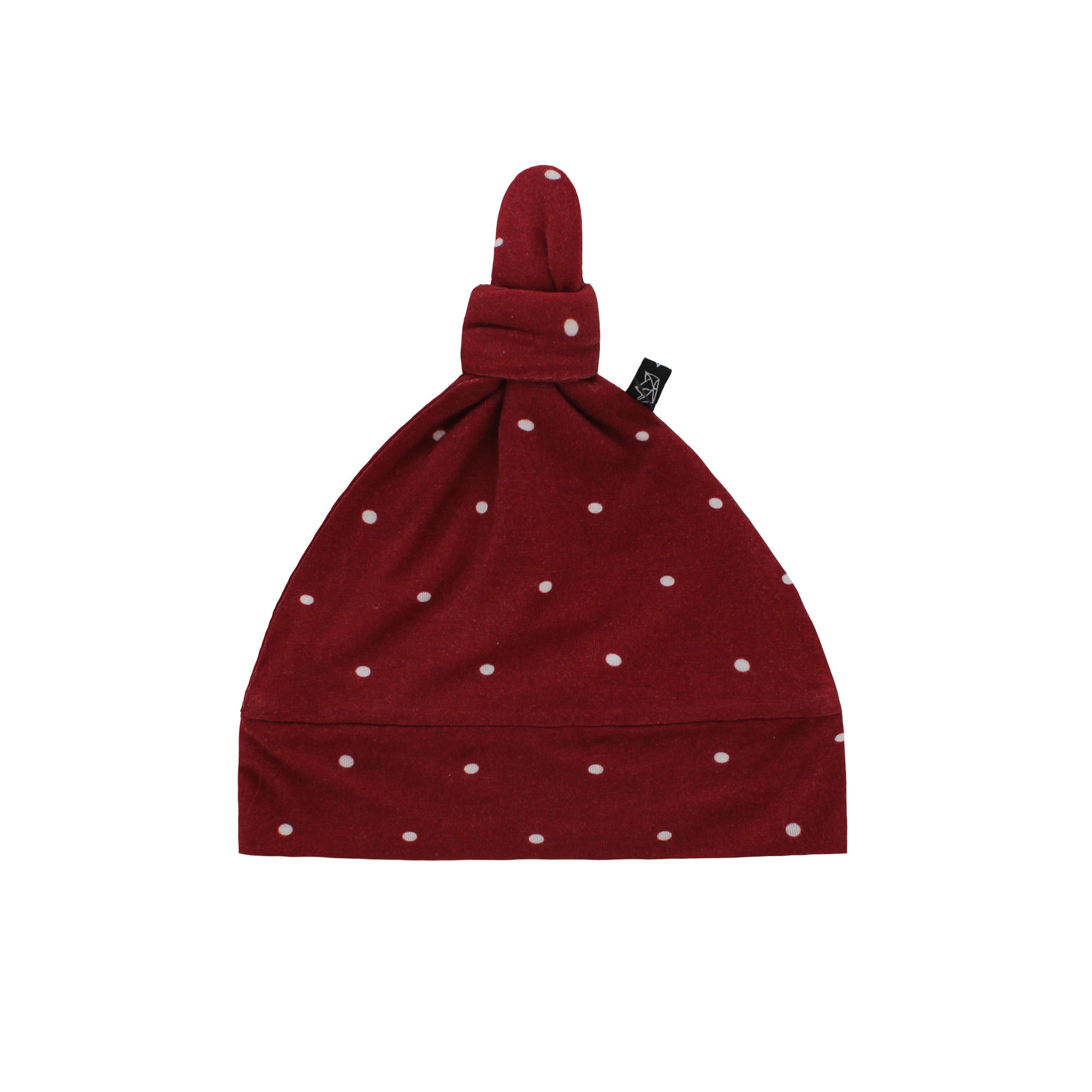 Burgundy Polkadot Bamboo Knotted Hat