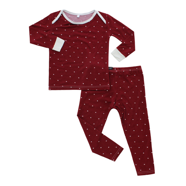 Burgundy Polkadot Bamboo Two-Piece Pajamas 1