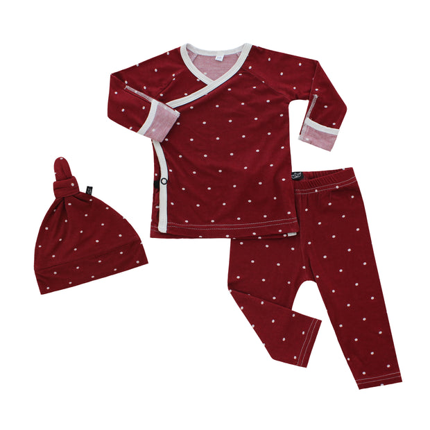 Burgundy Polkadot Bamboo Take Me Home Set 1