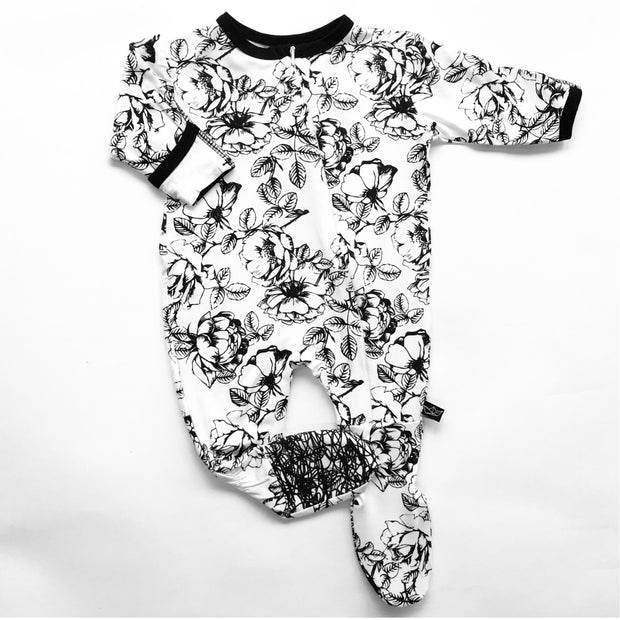 Floral Bamboo Footed Sleeper 1