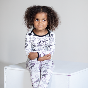 White Dino Bamboo Two-Piece Pajamas