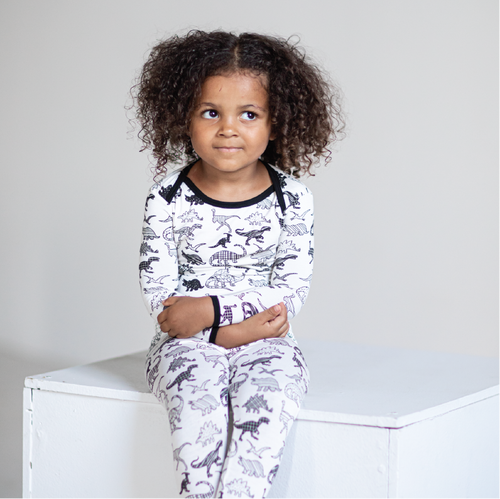 White Dino 2 Piece Pajama Set
