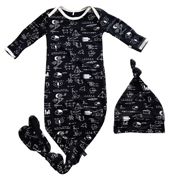 Chalk Math Bamboo Knotted Newborn Gown + Hat 1