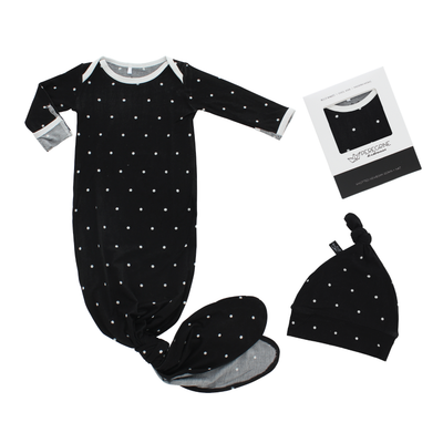 Black Polkadot Bamboo Knotted Newborn Gown + Set