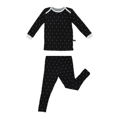 Black Polkadot Bamboo Two-Piece Pajamas