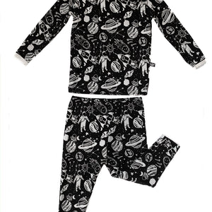 Monochrome Space Doodle Bamboo Two-Piece Pajamas