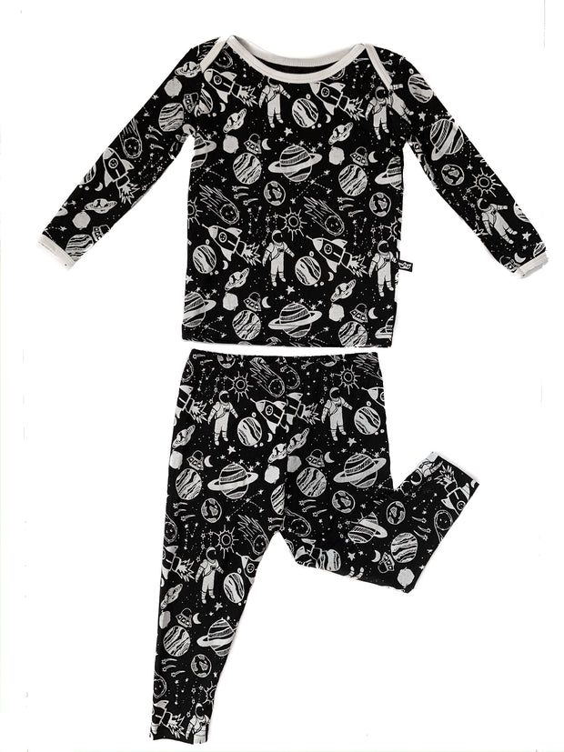 Monochrome Space Doodle Bamboo Two-Piece Pajamas 1