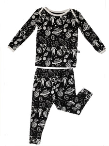Monochrome Space Doodle 2 Piece Bamboo Pajamas