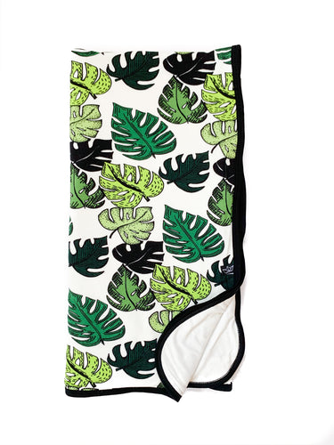 Palm Leaves Everywhere Bamboo Blanket