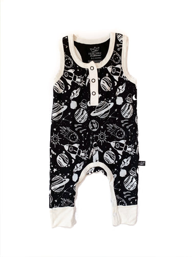 Monochrome Space Doodle Bamboo Tank Romper