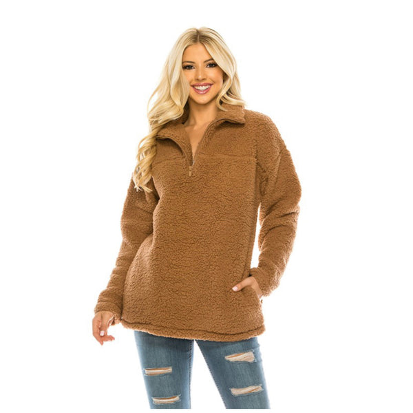 Sherpa Pull Over - Quarter Zip Front