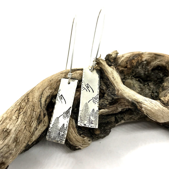 Vertical PNW Bar Earrings- Sterling Silver