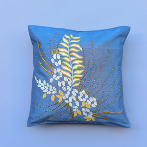 Kamal Embroidered Throw Pillow - Blue