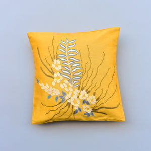 Kamal Embroidered Throw Pillow - Mustard