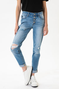 B. Benny Mid Rise Girlfriend Fit Jean