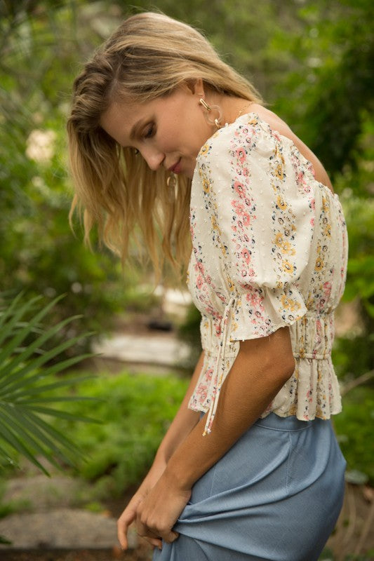 Bow Detail Floral Top