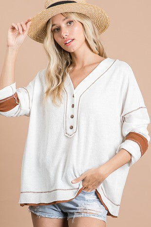 Textured White Jersey Top