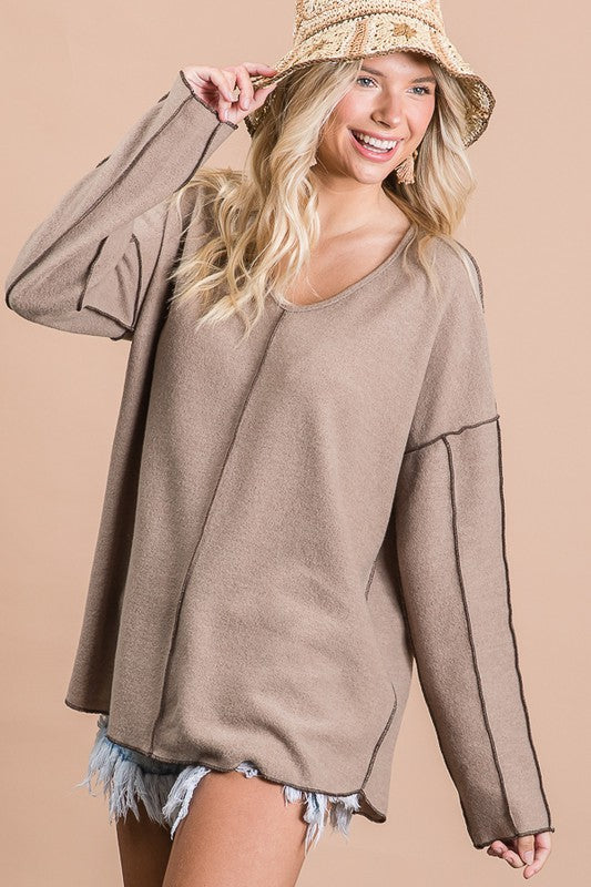 Camel VNeck Knit Top
