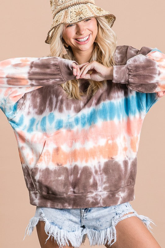 Multi Tie Dye Front Pocket Top