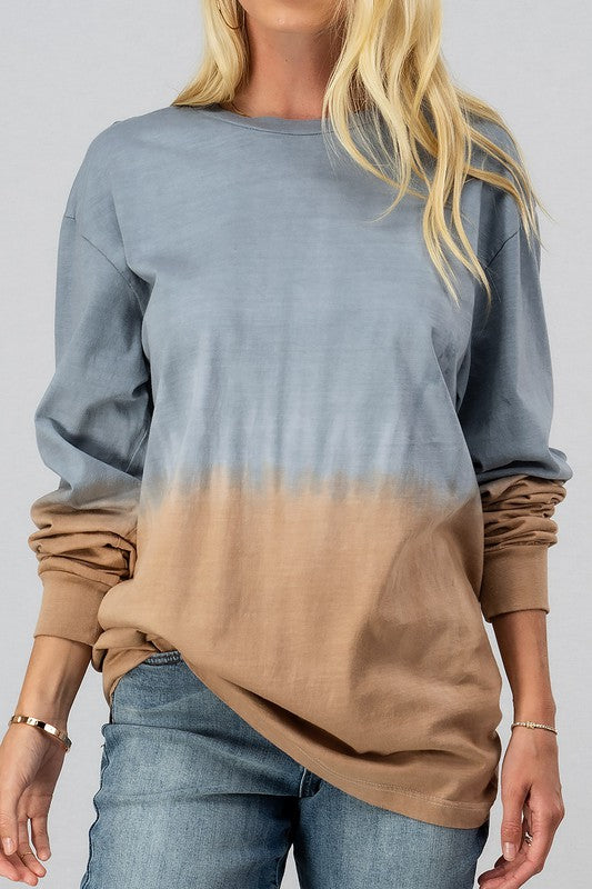 Tie Dye Color Block Long Sleeve Top