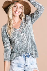 Multi Terry VNeck Olive Top