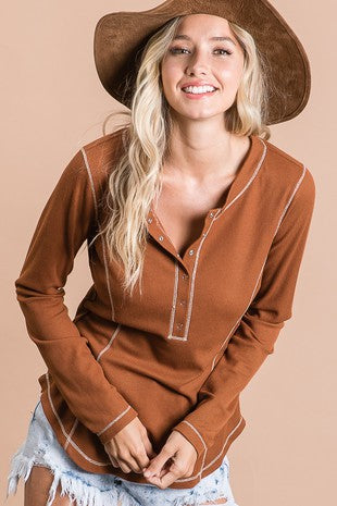 Rust Ribbed Button Down Top