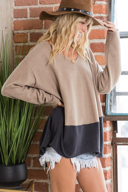 Camel Navy Color Block Top