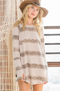 Mocha Dye Stripe Top