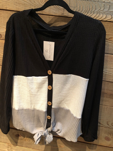 Black Grey Color Block Top