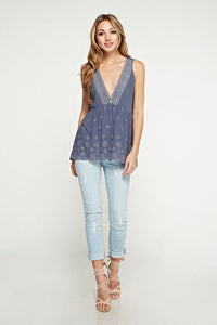 Dove Blue Eyelet Top